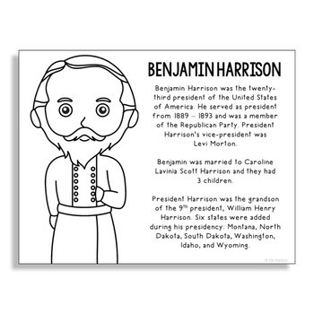 President Benjamin Harrison Coloring Page Craft or Poster with Mini Biography