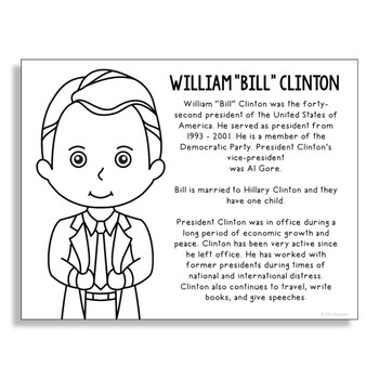 President Bill Clinton Coloring Page Craft or Poster with Mini Biography