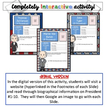 President's Day Activity-President Biographies #1-10 {Digital AND Paper}