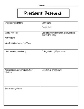 President Biography Research Graphic Organizer