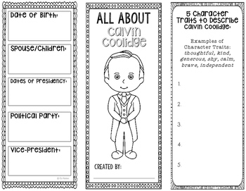 President Calvin Coolidge - Biography Research Project - Interactive Notebook