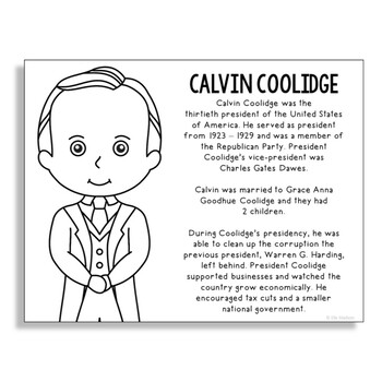 President Calvin Coolidge Coloring Page Craft or Poster with Mini Biography