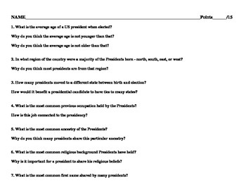 American President Chart and Questions worksheet - US Presidents
