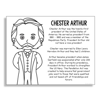 President Chester Arthur Coloring Page Craft or Poster with Mini Biography