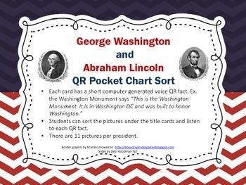 President Day QR Sort-Washington and Lincoln Pocket Chart Sort