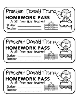 President Donald Trump - Homework Pass!   FUN! (black line version)