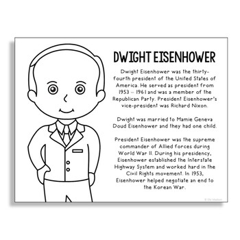 President Dwight Eisenhower Coloring Page Craft or Poster with Mini Biography