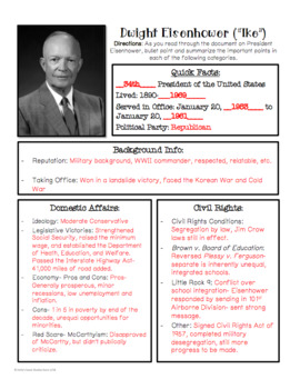 President Eisenhower Overview: Reading and Graphic Organizer