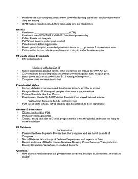 President & Executives Note Sheet