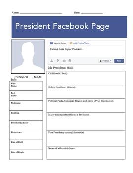 President Facebook Page Worksheet