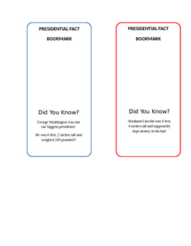 President Fact Bookmark 1st Grade Friendly