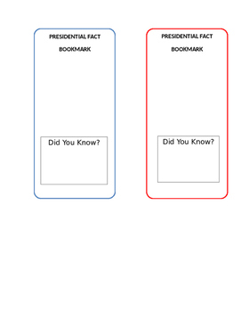 President Fact Bookmark Template