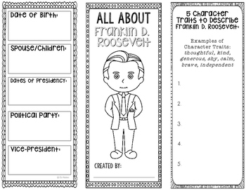 President Franklin D. Roosevelt - Biography Research - Interactive Notebook