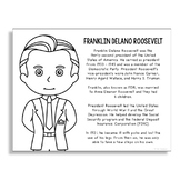 President Franklin D. Roosevelt Coloring Page Craft or Poster
