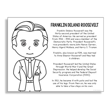 President Franklin D. Roosevelt Coloring Page for Crafts & Interactive  Notebooks
