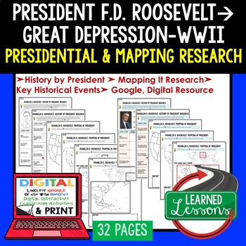 President Franklin D. Roosevelt  Research & Mapping Print