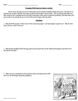 President Franklin Delano Roosevelt Interview Review Activity
