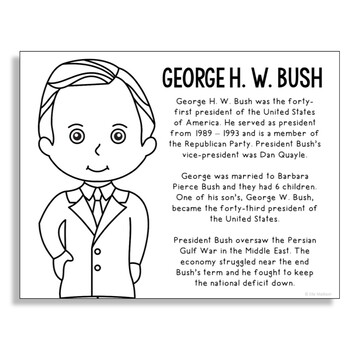 President George H. W. Bush Coloring Page Craft or Poster with Mini Biography