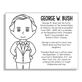 President George W. Bush Coloring Page Craft or Poster with Mini Biography