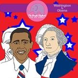 President George Washington & Barak Obama Clip Art