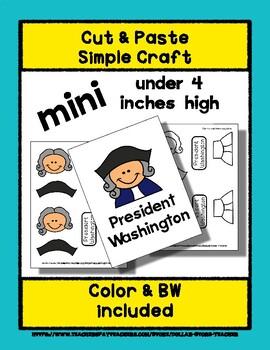 President George Washington - Cut & Paste Craft - Mini Craftivity for Pre-K +