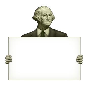 President George Washington Holding A Blank Sign