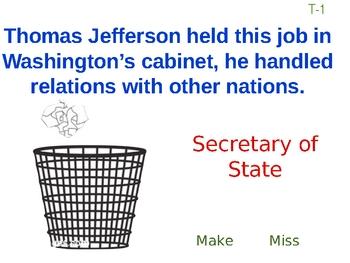 President George Washington Trashketball Review Game