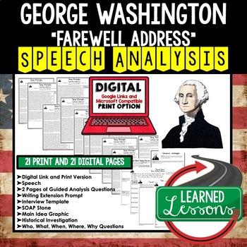 President George Washington's Farewell Address Speech Analysis Writing Activity