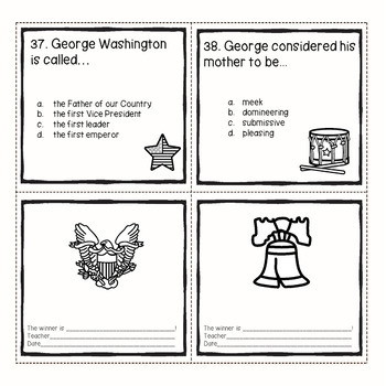 President George Washington Comprehension Passages Questions in black and white