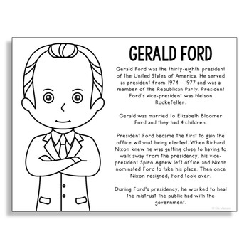President Gerald Ford Coloring Page Craft or Poster with M