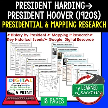 President Harding, Coolidge, Hoover Research & Mapping Print and Digital Google