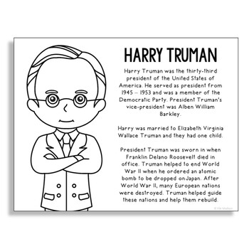 President Harry Truman Coloring Page Craft or Poster with Mini Biography