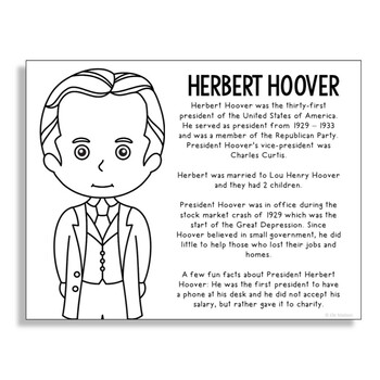 President Herbert Hoover Coloring Page Craft or Poster with Mini Biography
