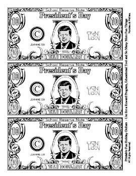 President Holiday Dollars - Teach Money, Use for Rewards, Support Centers & More