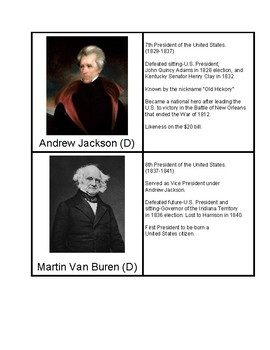 President Information Pack (Presidents of the 1800's)
