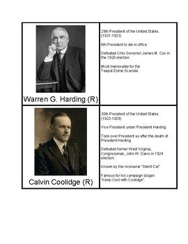 President Information Pack (Presidents of the 1900's)
