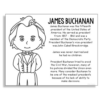 President James Buchanan Coloring Page Craft or Poster with Mini Biography