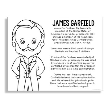 President James Garfield Coloring Page Craft Or Poster With Mini Biography
