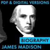 President James Madison Biography Research Organizer, PDF & Google Drive CCSS