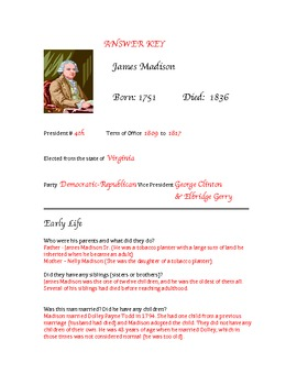 President James Madison Research Activity