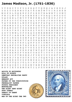 President James Madison Word Search