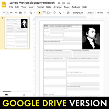 President James Monroe Biography Research Organizer, Easy Bio Activity, CCSS