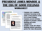 President James Monroe & the Era of Good Feelings worksheet - USH/AP Common Core