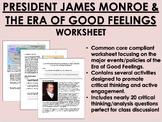 President James Monroe and the Era of Good Feelings worksheet