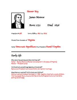 President James Monroe Research Activity