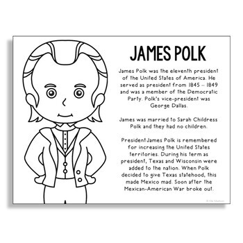 President James Polk Coloring Page Craft or Poster with Mini Biography