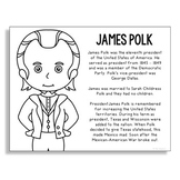 President James Polk Coloring Page Craft or Poster with Mi