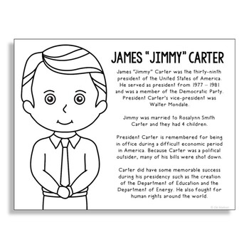 President Jimmy Carter Coloring Page Craft or Poster with Mini Biography
