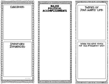 President John Adams - Biography Research Project - Interactive Notebook - USA