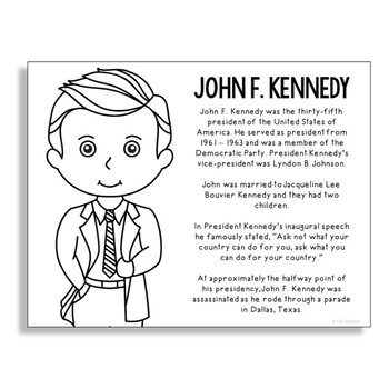 President John F. Kennedy Coloring Page Craft or Poster with Mini Biography